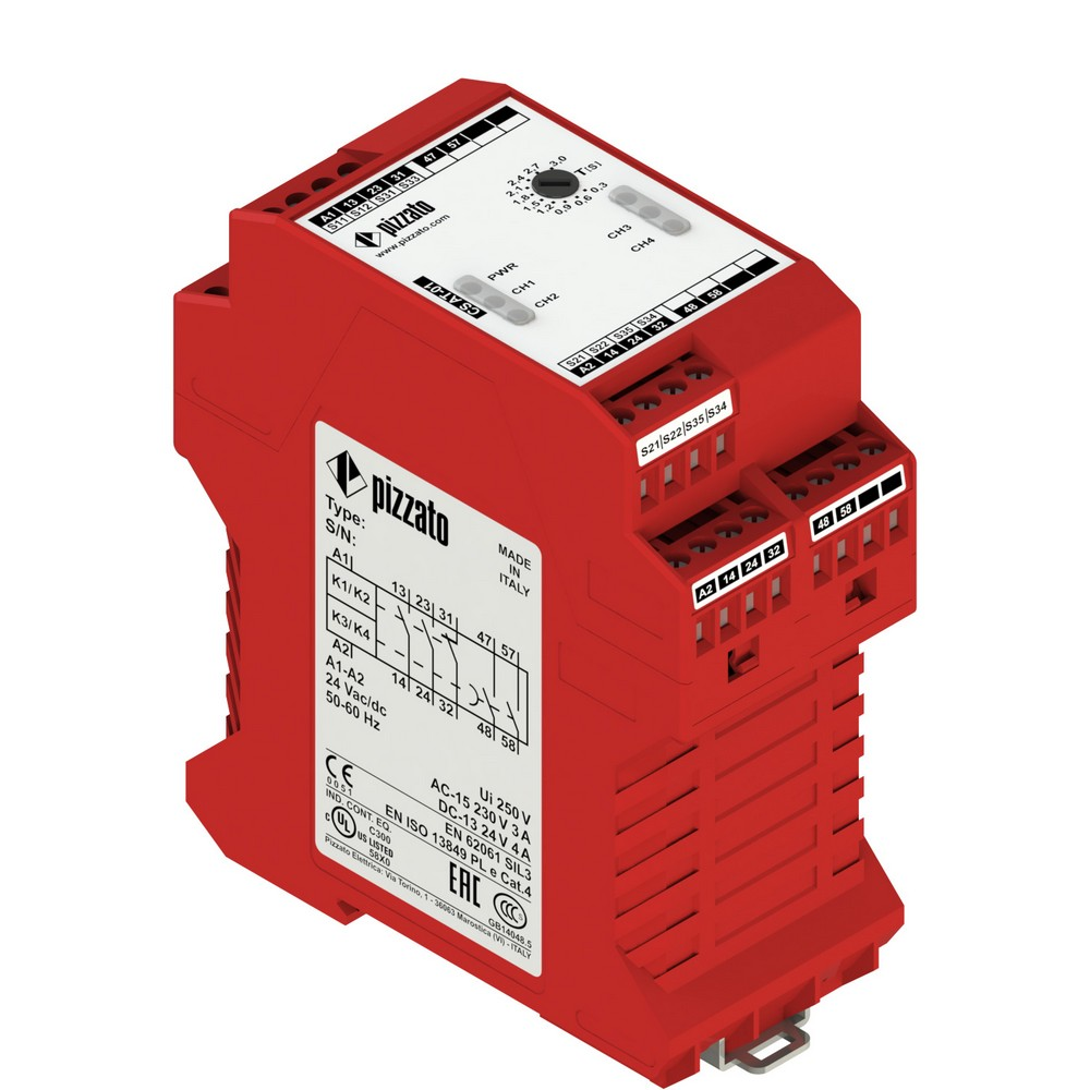CS AT-01M230 Pizzato Elettrica Защитный модуль (2НО + 1НЗ) мгновенные + 2НО с задержкой, категория 4