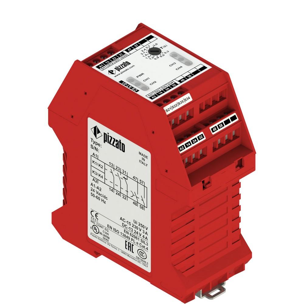 CS AT-04V230 Pizzato Elettrica Защитный модуль (2НО + 1НЗ) мгновенные + 2НО с задержкой, категория 4