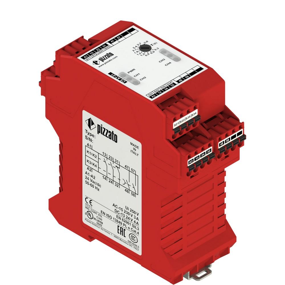 CS AT-03X024 Pizzato Elettrica Защитный модуль (2НО + 1НЗ) мгновенные + 2НО с задержкой, категория 4