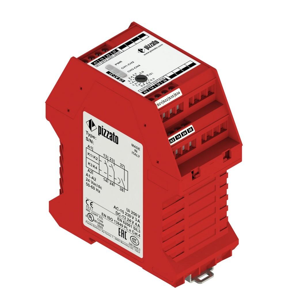 CS AT-33V024 Pizzato Elettrica Защитный модуль 2НО мгновенные + 1НО с задержкой, категория 4