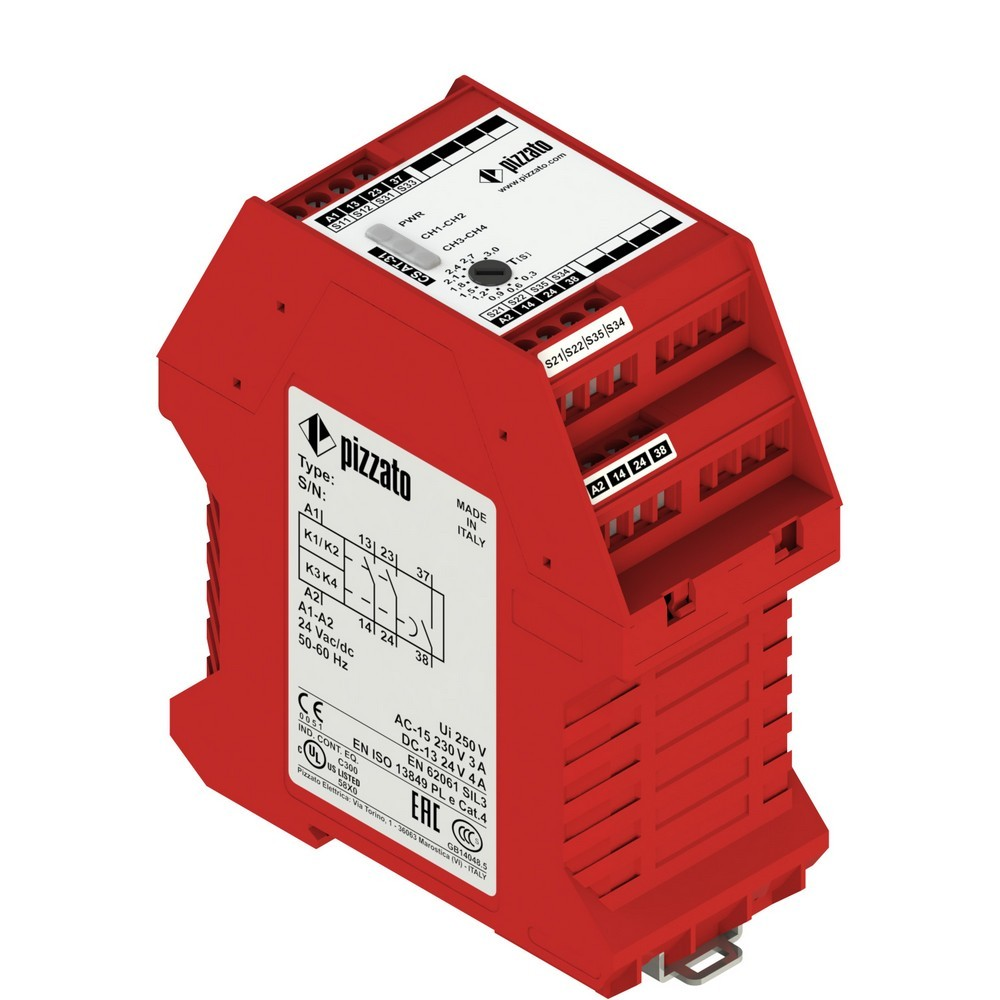 CS AT-34V024 Pizzato Elettrica Защитный модуль 2НО мгновенные + 1НО с задержкой, категория 4