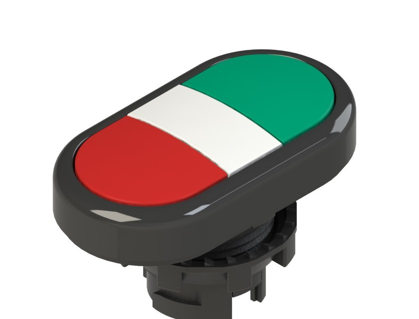 E2 1PDRL10423 Pizzato Elettrica Двойная пониженная плоская кнопка, без маркировки