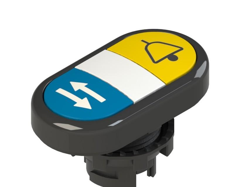 E2 1PDRL1AABM Pizzato Elettrica Двойная пониженная плоская кнопка, с маркировкой
