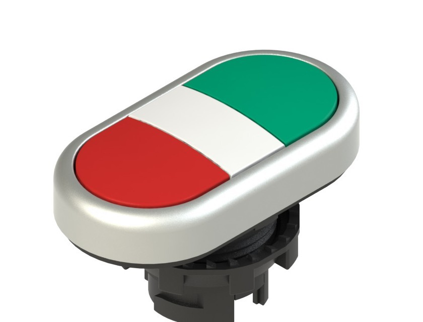 E2 1PDRL90423 Pizzato Elettrica Двойная пониженная плоская кнопка, без маркировки