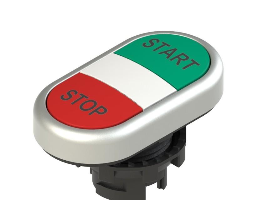 E2 1PDRL9AAAP Pizzato Elettrica Двойная пониженная плоская кнопка, с маркировкой