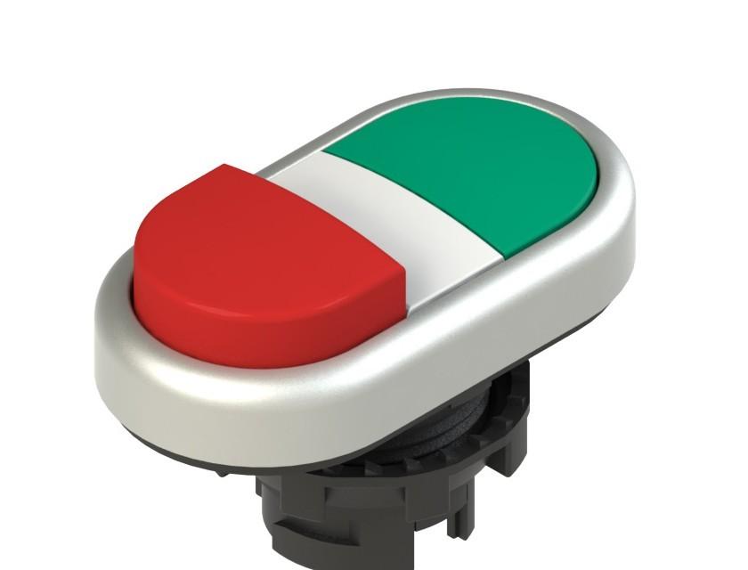 E2 1PDSL90423 Pizzato Elettrica Двойная пониженная выступающая кнопка, без маркировки