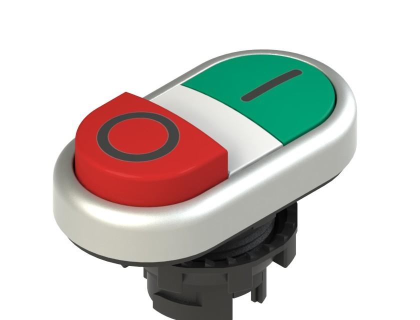 E2 1PDSL9AAAD Pizzato Elettrica Двойная пониженная выступающая кнопка, с маркировкой