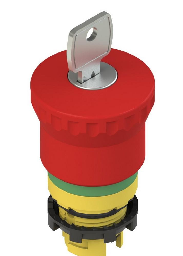 E2 1PEBZ4731 Pizzato Elettrica Аварийная кнопка с зеленой маркировочной пунктирной линией с ключом