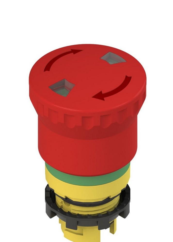 E2 1PERF4731 Pizzato Elettrica Аварийная кнопка с механическим индикатором с зеленой маркировочной пунктирной линией (поворот для освобождения)