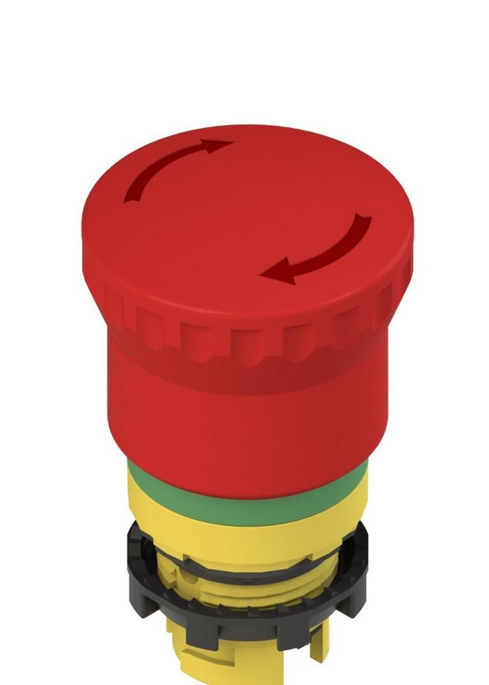 E2 1PERZ4731 Pizzato Elettrica Аварийная кнопка с зеленой маркировочной пунктирной линией (поворот для освобождения)