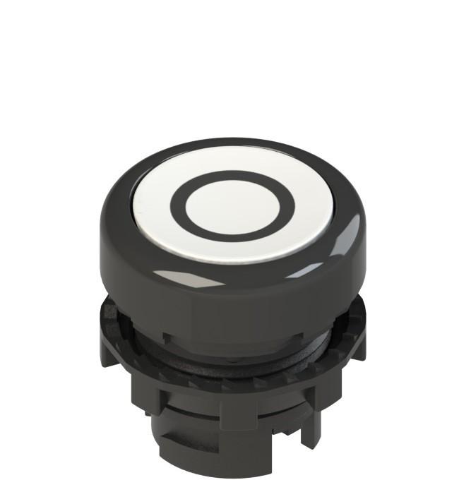 E2 1PL2R221L1 Pizzato Elettrica Белая плоская кнопка с подсветкой с маркировкой