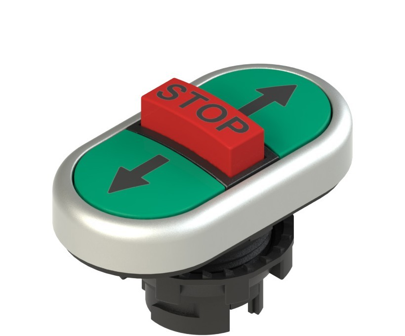 E2 1PTRS9AABA Pizzato Elettrica Тройная пониженная плоская кнопка, с маркировкой
