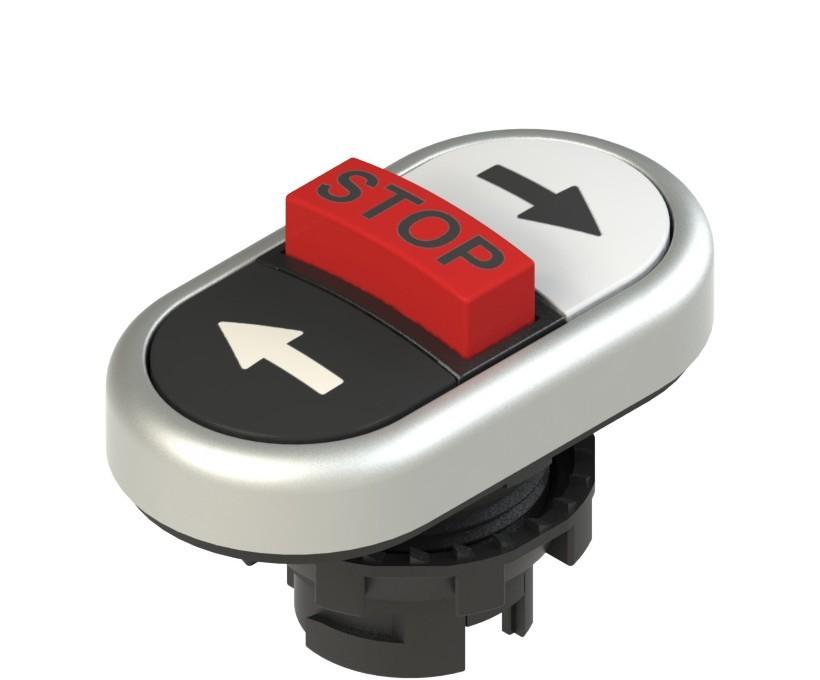 E2 1PTRS9AABD Pizzato Elettrica Тройная пониженная плоская кнопка, с маркировкой