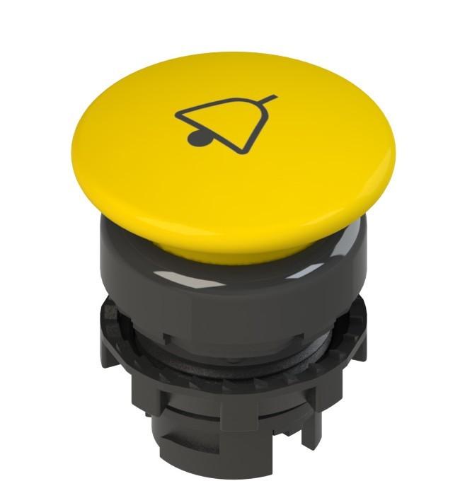 E2 1PU2F541L14 Pizzato Elettrica Желтая грибовидная кнопка с пружинным возвратом, с маркировкой