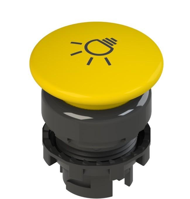 E2 1PU2F541L16 Pizzato Elettrica Желтая грибовидная кнопка с пружинным возвратом, с маркировкой